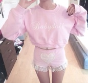 sweater,light pink,clothes,pink,baby,shorts,sweatshirt,pullover,lace,heart,cute,kawaii,hoodie,pastel,pastel goth,pink fluffy hoodie,pinkish,pale,baby pink,babydoll,pretty,tumblr,crop tops,garter,japan,cute shorts,soft,light,girly,cyber,doll,crop,cyber ghetto,white,lace shorts,heart shorts,crewneck,pink sweater,babygirl asf,wantitsobad,socute