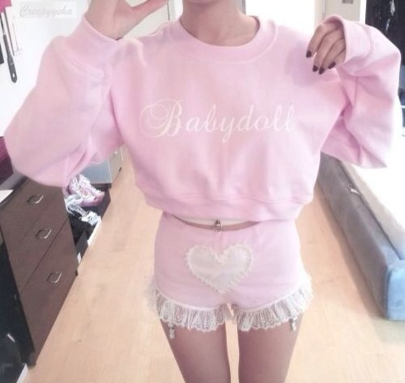 pink sweater cute pale pale pink baby pink crop tops babydoll clothes baby doll shorts pullover lace heart kawaii tumblr cropt top