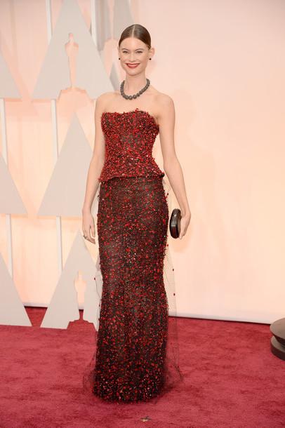 dress bustier dress gown behati prinsloo oscars 2015 red carpet dress