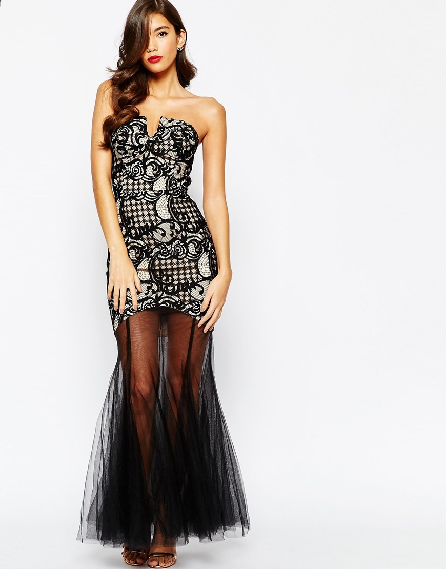 Jarlo Elsa Bandeau Lace Maxi Dress With Mesh Fishtail at asos.com