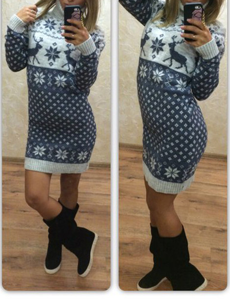 Dress: tunicsweater, sweater, warm, black dress, boho dress, tunic ...