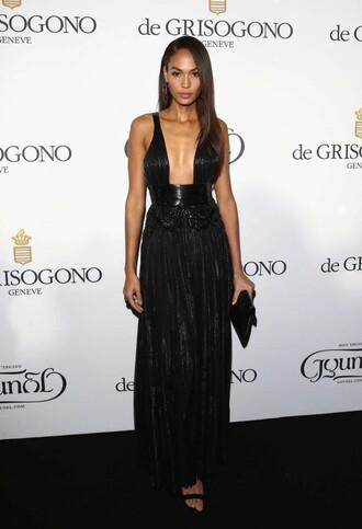 dress gown plunge v neck black dress black prom dress joan smalls cannes