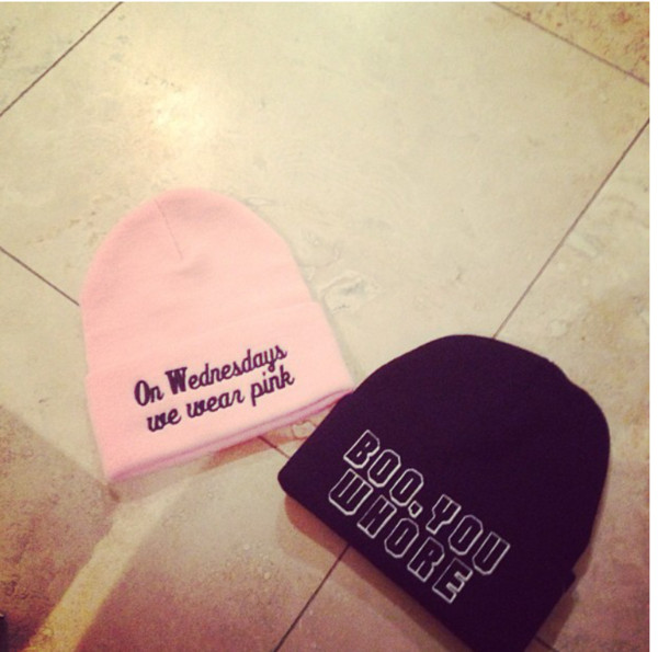 hat mean girls beanie pink on wednesdays we wear pink boo you whore