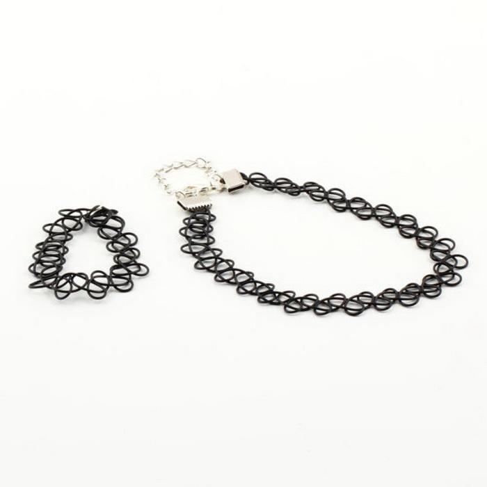 Magic Tattoo Choker Necklace Bangle Set Stretch Bracelet Trendy Girls Jewelry | eBay