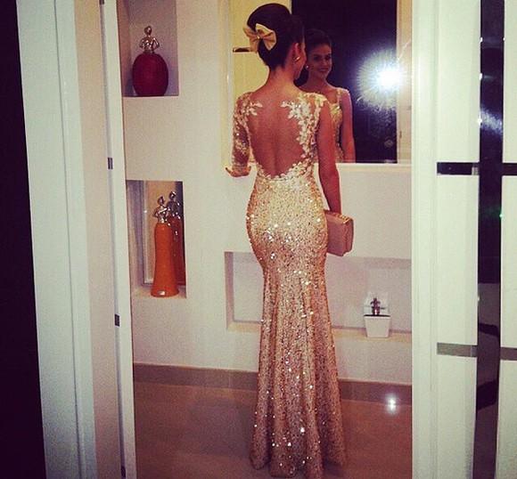 gold prom dress sparkle dress