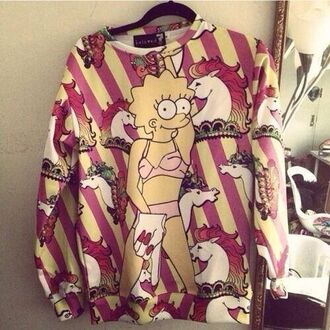 shirt lisa simpson miley ema cool colors sweather love it the simpsons sweatshirt miley cyrus purple and blue