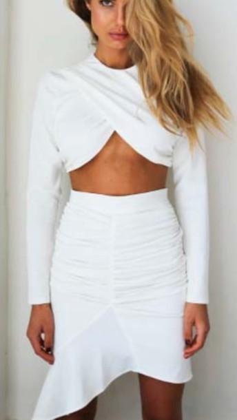 Fashion cute hot irregular dress twp pieces