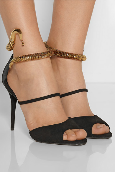 Effect metal and suede sandals