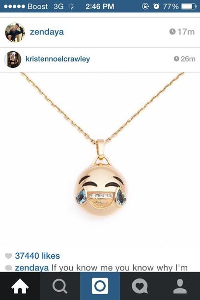 jewels emoji print necklace gold smiley