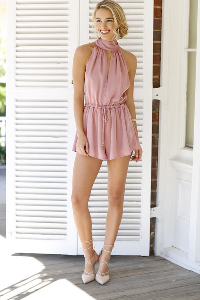 ac7db633972e romper dusty pink pink romper romantic outfit summer outfits high neck