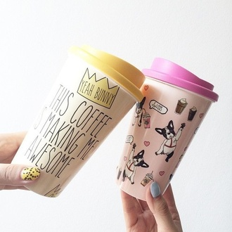 home accessory coffee pink yellow cute cups