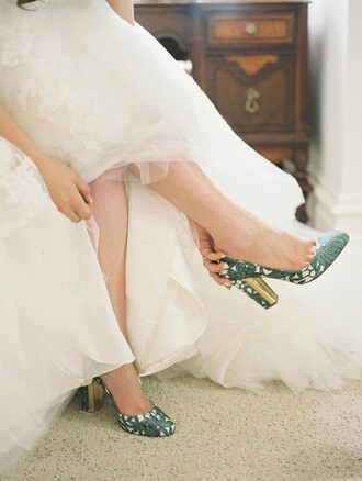 shoes green pattern floral wedding gold heel