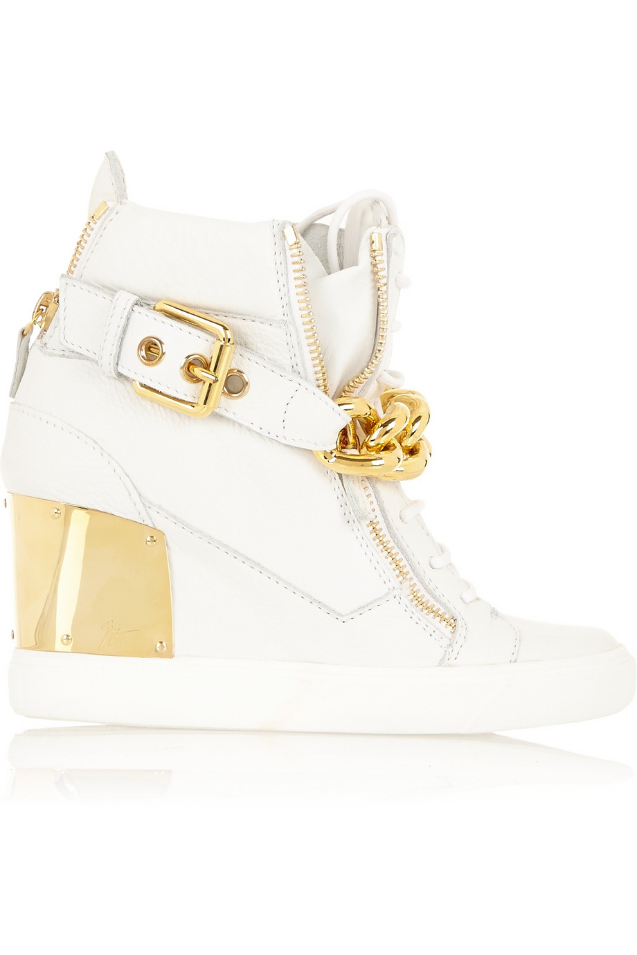 Giuseppe Zanotti Embellished textured-leather concealed wedge sneakers – 30% at THE OUTNET.COM