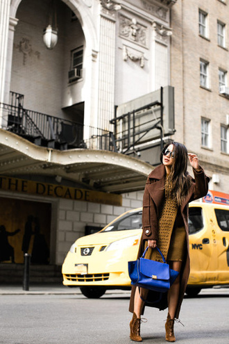 wendy's lookbook blogger coat dress shoes bag sunglasses jewels brown coat spring outfits ankle boots blue bag asos trench coat gianvito rossi celine bag karen walker streetstyle