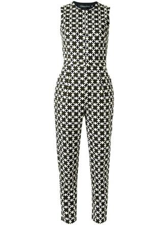 jumpsuit women spandex geometric cotton print black