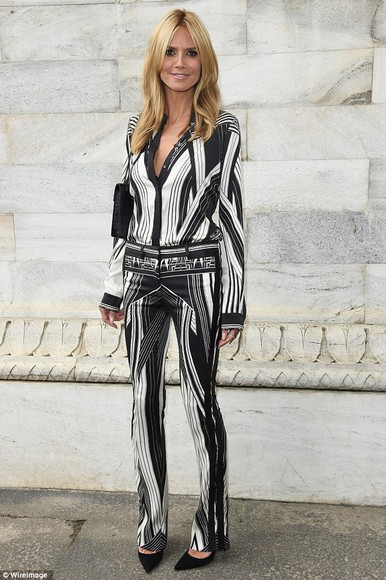 heidi klum fashion week 2014 blouse shirt pants