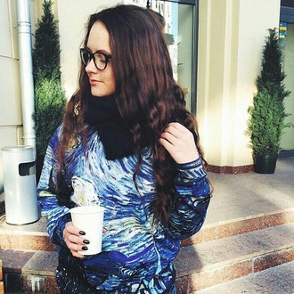 sweater starry night cute sweatshirt winter sweater van gogh glasses blue printed sweater fall sweater brunette streetwear clothes winter outfits hipster