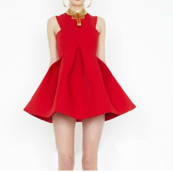 Red Day Dress - Red Sleeveless Skater Dress with  UsTrendy