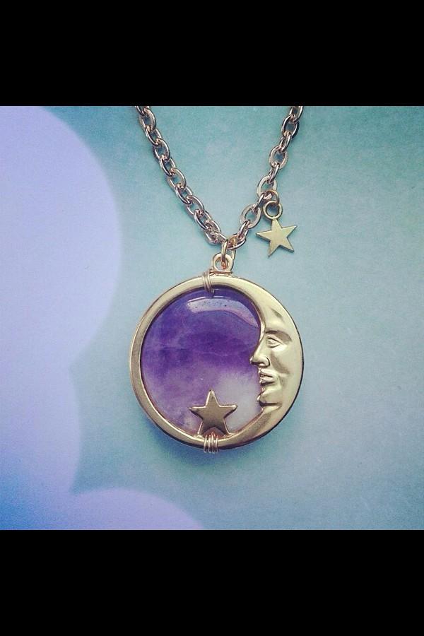 jewels necklace purple moon jewelry