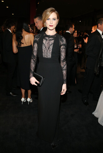 black dress prom dress evan rachel wood gown