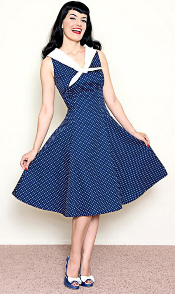 50s style vintage vintage dress polka dot dress navy dress retro retro dress 50s dress 50s style vintage vintage retro clothing cute dress cute