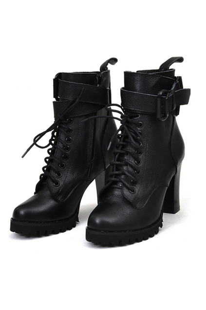 Pin Buckle Strap Embellished Lace up Combat Booties with Lining - OASAP.com