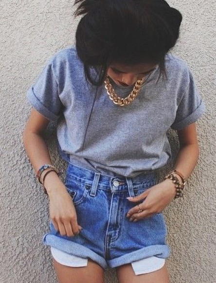 denim shorts High waisted shorts 90s goldnecklace