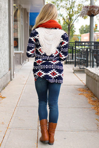 aztec tribal pattern cardigan navy coral crochet