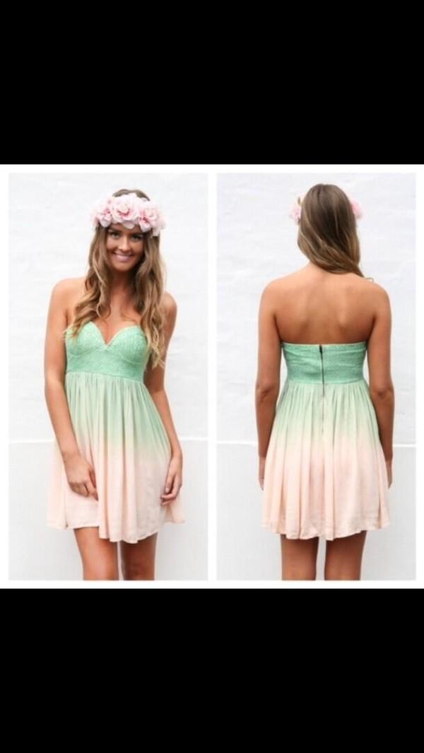 dress pastel mint summer summer dress summer outfits dress hippie strapless dress turquoise pink white flower crown