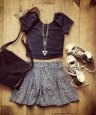 skirt fashion style black top teen vogue lovely