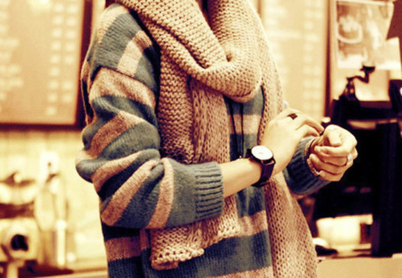 jewels watch clock brown wristband needed oversized sweater scarf knitwear blouse