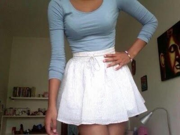 adorable cute skirt white sweater whi weheartit white skirt tumblr hot clothes highwaisted shorts high waisted skirt blue shirt