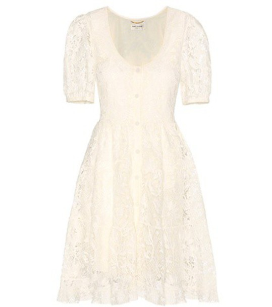 Saint Laurent dress lace dress lace white