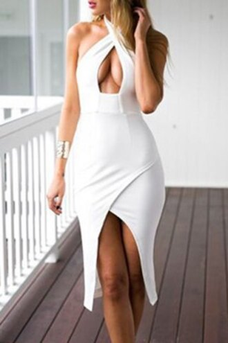 dress sexy midi dress party cleavage white halter neck tight-fitting dress sensual
