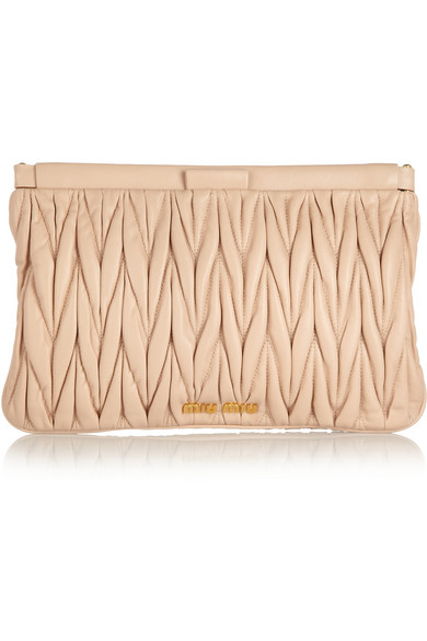 matelassé leather clutch