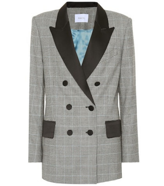 Racil Audrey checked wool blazer in grey