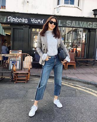 jacket grey top tumblr blazer grey blazer top turtleneck denim jeans blue jeans side stripe pants cropped jeans sneakers white sneakers low top sneakers