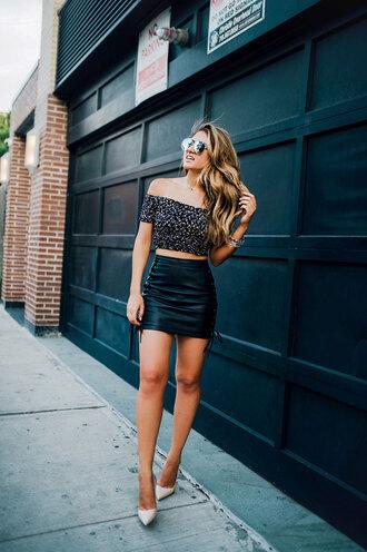 fashionismyforte blogger jewels top skirt shoes pumps high heel pumps crop tops mini skirt summer outfits
