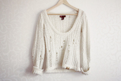 sweater,white sweater,white shirt,knitted sweater,white,tumblr,cardigan,holey sweater,summer