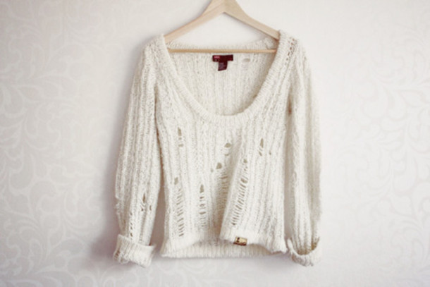 sweater white sweater white shirt knitted sweater white tumblr cardigan holey sweater summer