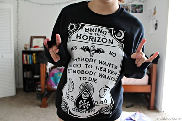 sweatshirt sweater bmth bring me the horizon satanic grunge heaven die punk rock black white death poison sempiternal yes no