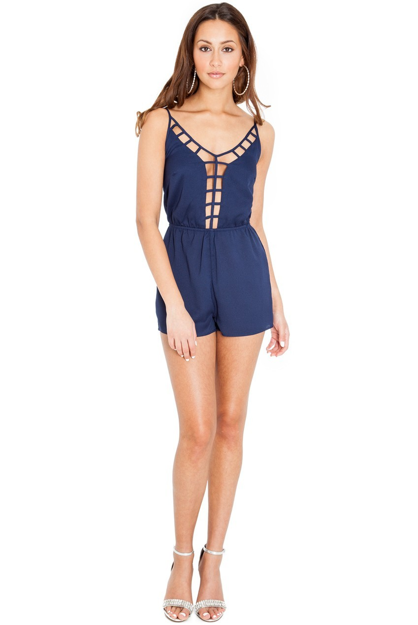 Porcha Navy Blue Lattice Front Playsuit by Frocksville