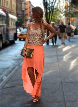 tank top gold sequins shoes sandals skirt asymmetrical skirt long classy girly orange coral maxi sequins dress neon skirt orange skirt summer skirt high low skirt peach high-low skirt blouse neon high low high-low dresses beige top
