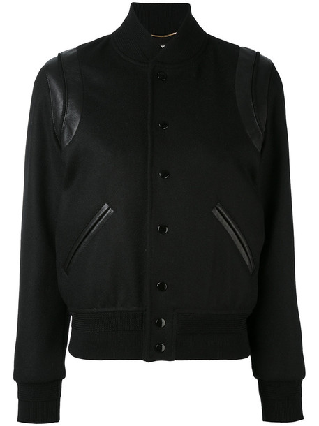Saint Laurent jacket teddy jacket women classic leather cotton black wool