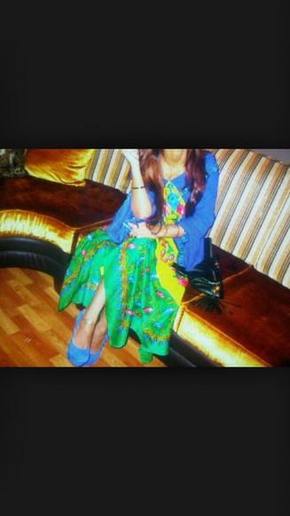 dress maxi dress maxi fashion blue dress yellow yellow dress green dress green floral dress