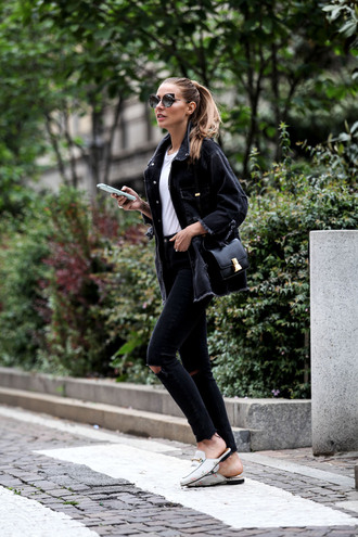 the fashion fruit blogger white top black jacket denim jacket black bag mini bag black jeans ripped jeans