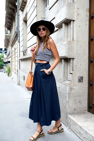 the fashion fruit blogger studded shoes flat sandals studded flats navy louboutin striped top crop tops culottes