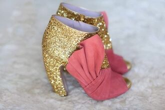 shoes pink bow gold sparkle glitter pink bow high heels