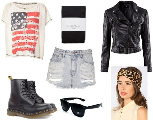 jacket leather jacket DrMartens t-shirt american flag sunglasses tights High waisted shorts headband dress hipster grunge soft grunge