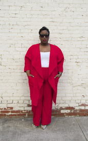 pants,plus size interview outfit,curvy,plus size,plus size top,white top,coat,red coat,red pants,work outfits,office outfits